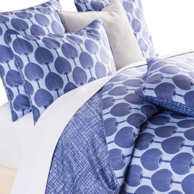 Surya Florence Broadhurst Kabuki Reversible Full/Queen Duvet Cover Set in Teal/White