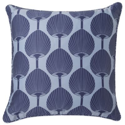 Surya Florence Broadhurst Kabuki Polyester Throw Pillow in Teal/White
