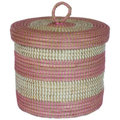 10-Inch x 11-Inch Seagrass Basket in Rose Bay Finish
