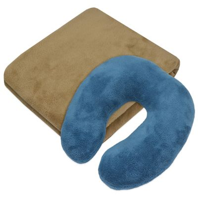 Jet Set 2-Piece Throw and Neckroll Pillow Gift Set in Taupe
