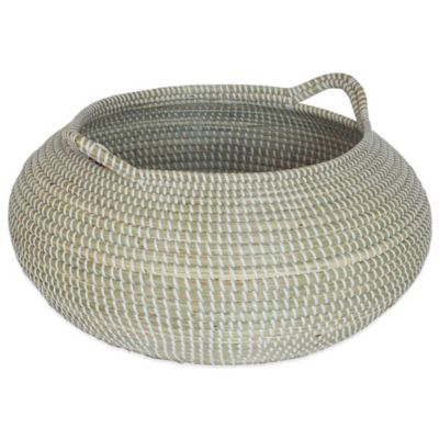 17-Inch x 9-Inch Seagrass Basket in White Wash Finish