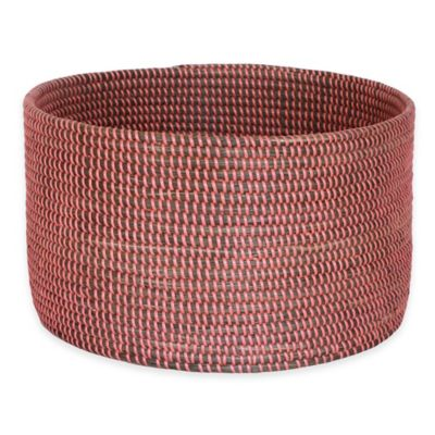 16-Inch x 10-Inch Seagrass Basket in Pink Finish