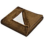 Ultra Plush Throw Blanket with Built-In Smart Device Cleaning Cloth in Chocolate