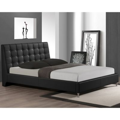 Zeller Designer Queen Bed with Upholstered Headboard in Black