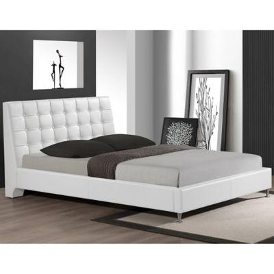 Zeller Designer Queen Bed with Upholstered Headboard in White