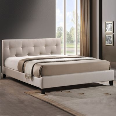 Annette Designer Full Bed with Upholstered Headboard in Light Beige