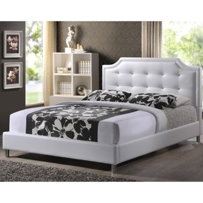 Carlotta Designer King Bed with Upholstered Headboard in White