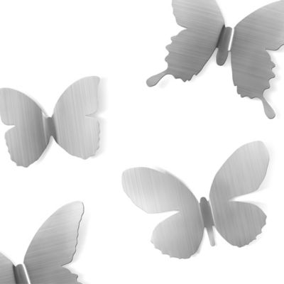 Umbra® Stamped Metal Mariposa Butterfly Wall Decals in Nickel (Set of 9)