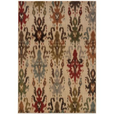 Oriental Weavers Casablanca Ikat 3-Foot 10-Inch x 5-Foot 5-Inch Rug in Beige