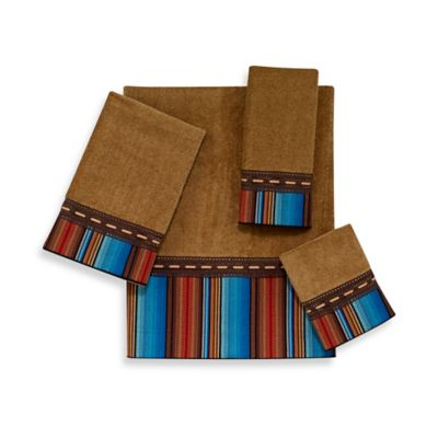 Avanti Serape Stripe Fingertip Towel in Nutmeg