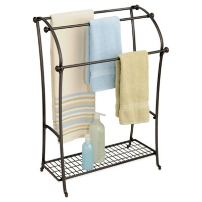 InterDesign® York® Lyra Floor Towel Stand in Bronze