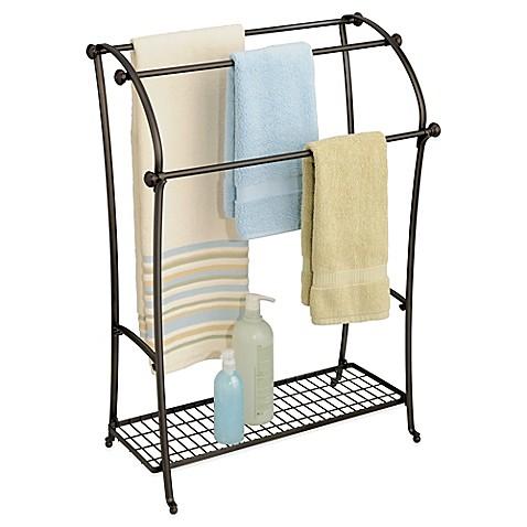 marvelous bathroom towel stand   InterDesign® York® Lyra Free Standing Towel Stand in ...