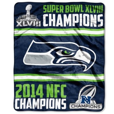 NFL Seattle Seahawks NFC Back 2 Back Champs Raschel Throw Blanket