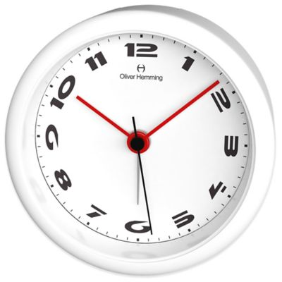 Oliver Hemming City Acrylic Small Number Alarm Clock in White