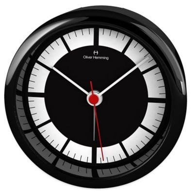 Oliver Hemming City Acrylic Numberless Alarm Clock in Black