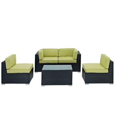 Modway Camfora 5-Piece Wicker Patio Conversation Set in Green
