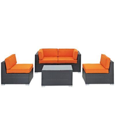 Modway Camfora 5-Piece Wicker Patio Conversation Set in Orange