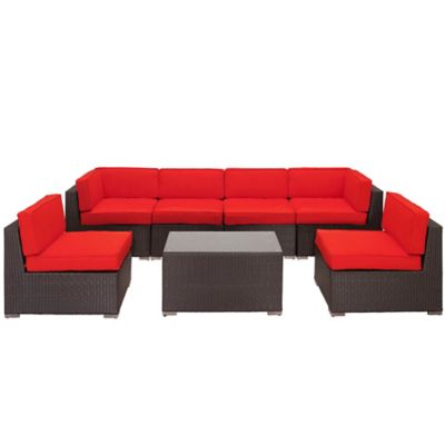Modway Aero 7-Piece Wicker Patio Sectional Set in Red
