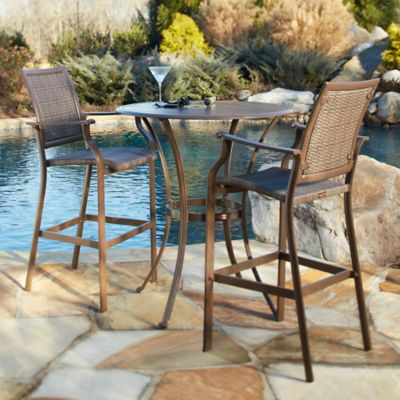 Panama Jack Island Cove Wicker 3-Piece Pub Table Set
