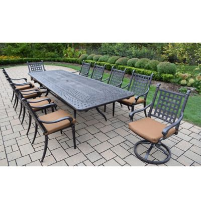 Oakland Living Richmont 11-Piece Extendable Outdoor Dining Set in Antique Black