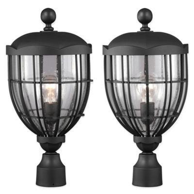 Feiss River North Post-Mount 19-Inch Outdoor Lantern in Black