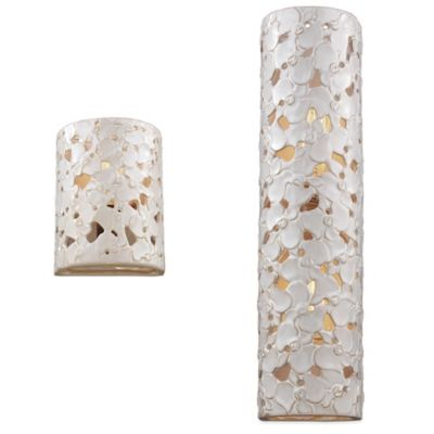 Feiss Azalia White Taupe Ceramic / Beach Wood 2-Light Wall Sconce