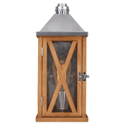 Feiss® Lumiere Wall-Mount Outdoor Lantern in Natural Oak/Aluminum