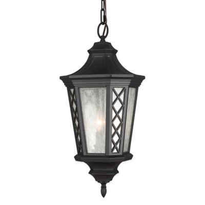 Feiss® Wembley Park 3-Light Pendant Outdoor Hanging Lantern in Textured Black