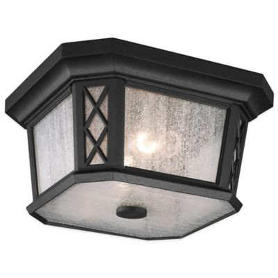 Feiss® Wembley Park 2-Light Flush-Mount Ceiling Outdoor Lantern in Textured Black