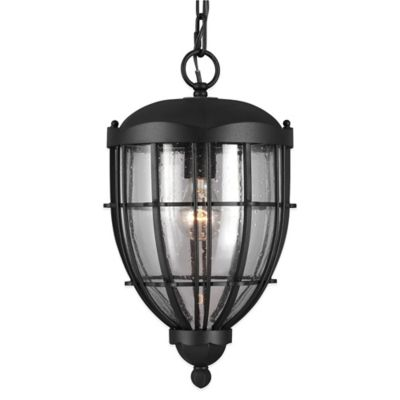 Feiss® River North 1-Light Ceiling-Mount Outdoor Lantern in Textured Black