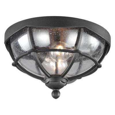 Feiss® River North 2-Light Flush Mount Outdoor Lantern in Textured Black