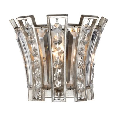 Feiss Soros Wall-Mount Ebonized Sconce in Silver Leaf