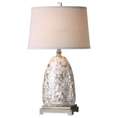 Uttermost Capurso Capiz Shell Table Lamp in Brushed Nickel with Linen Shade