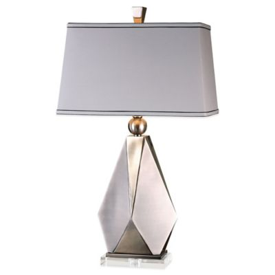 Uttermost Taburno Table Lamp in Brushed Nickel with Linen Shade