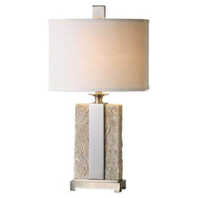 Uttermost Bonea Stone Table Lamp in Ivory with Linen Shade