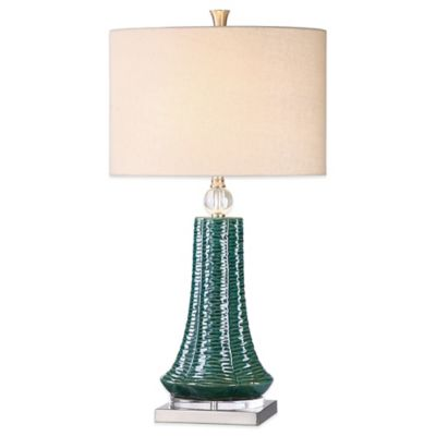Uttermost Gosaldo Textured Table Lamp in Teal with Linen Shade