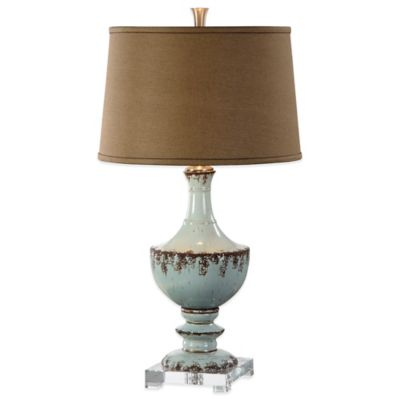 Uttermost Molara Table Lamp in Blue with Linen Shade
