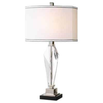 Uttermost Altavilla Crystal Table Lamp in Nickel with Linen Shade