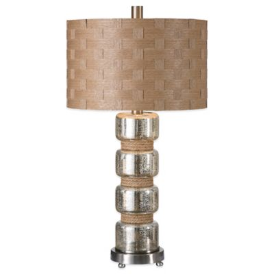 Uttermost Cerreto Mercury Glass Table Lamp in Brushed Nickel with Faux Rattan Shade