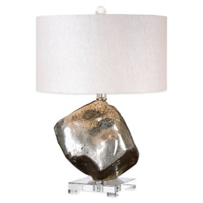 Uttermost Everly Glass Table Lamp in Silver with Linen Shade