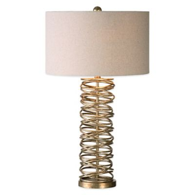 Uttermost Amarey Metal Ring Table Lamp in Antique Silver Champagne with Linen Shade