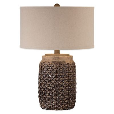 Uttermost Bucciano Textured Ceramic Table Lamp in Rust with Linen Shade