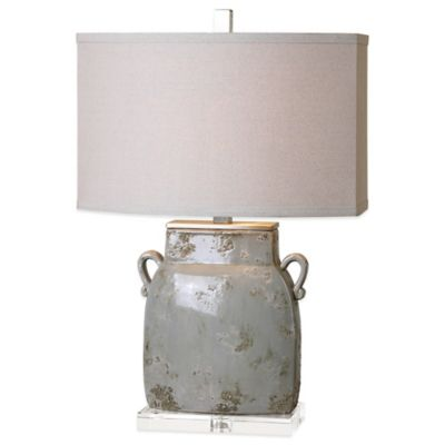 Uttermost Melizzano Table Lamp in Ivory/Grey with Linen Shade