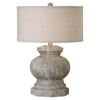 Uttermost Verdello Table Lamp in Stone with Linen Shade