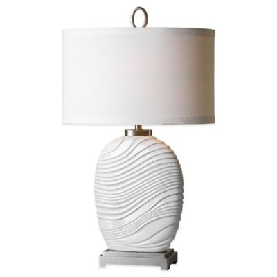 Uttermost Valleve Table Lamp in White with Linen Shade