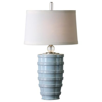 Uttermost Sassinoro Table Lamp in Light Blue with Linen Shade