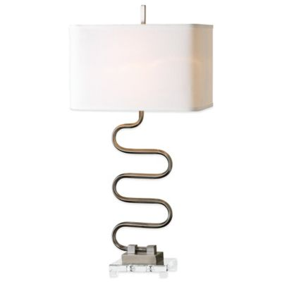 Uttermost Karna Table Lamp in Brushed Nickel with Linen Shade