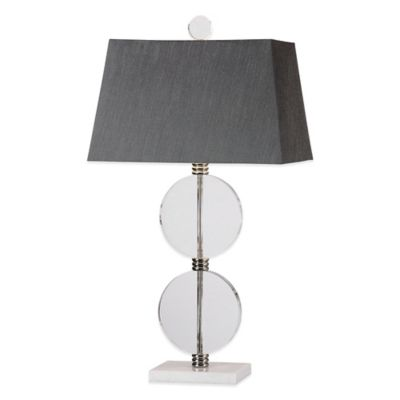 Uttermost Telesino Table Lamp in Polished Nickel with Linen Shade