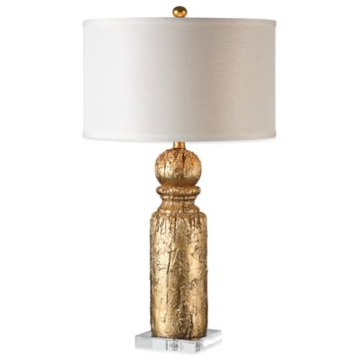 Uttermost Lorenzello Table Lamp in Gold with Linen Shade