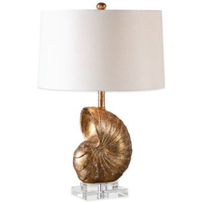 Uttermost Concha Table Lamp in Gold with Linen Shade